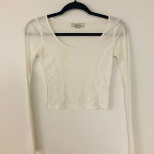 Long-Sleeve Cream Crop Top